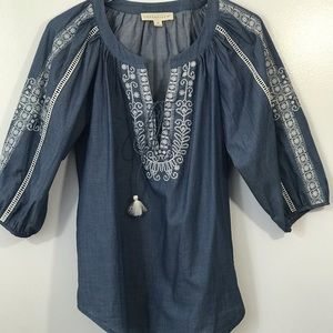 Love Stitch Chambray Boho Peasant Embroidered Top